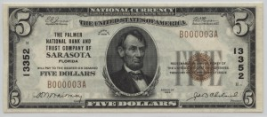 1929 Type 1 $5 Note Charter #13352
