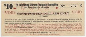 1933 St. Petersburg Citizens Emergency Committee $10 Scrip