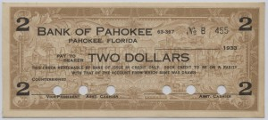 1933 Bank of Pahokee $2