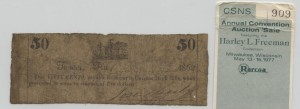 1862 50 Cent Note from Harley L. Freeman Collection