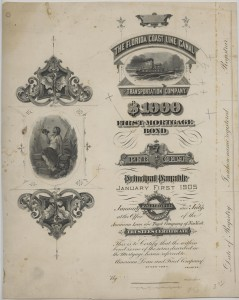 1905 The Florida Coast Line Canal and Transportation Company $1000 Bond Unissued Trustees Certificate