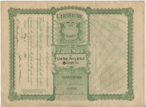 1938 Live Oak, Perry, & Gulf Railroad Company Stock Share. Issued to John M. Hollern