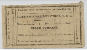 1864 Quartermaster's Department, C.S.A. Good for One Seat
