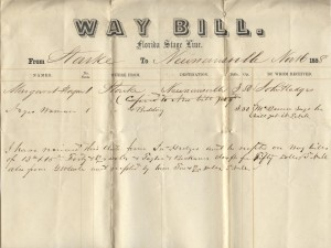 Florida Stage Line Way Bill From Starke to Newmansville, Florida.