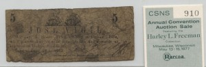 1862 5 Cent Note from Harley L. Freeman Collection
