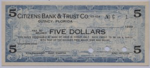 1933 Citizens Bank & Trust Co. $5