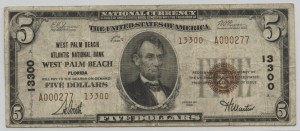 1929 Type 2 $5 Note Charter #13300