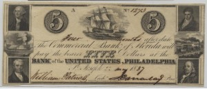 1837 $5 Note Signed William Patrick, Cash. and J.C. Maclay, Pres.