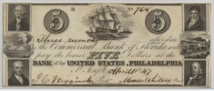1847 $5 Note Signed J.C. Wiggins, Cash. and Moses Whitney, Pres.