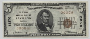 1929 Type 1 $5 Note Charter #13370