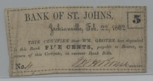 Feb. 22, 1862 .5 Cent Note Bank of St. Johns