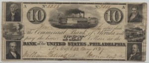 1837 $10 Note Signed William Patrick, Cash. and J.C. Maclay, Pres.