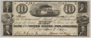1847 $10 Note Signed J.C. Wiggins, Cash. and Moses Whitney, Pres.