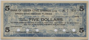 1933 Bank of Green Cove Springs $5