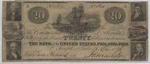 1836 $20 Note Signed William Patrick, Cash. and J.C. Maclay, Pres.
