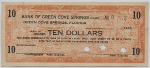 1933 Bank of Green Cove Springs $10
