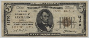 1929 Type 2 $5 Note Charter #13370