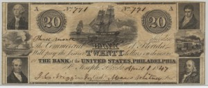 1847 $20 Note Signed J.C. Wiggnins, Cash. and Moses Whitney, Pres.