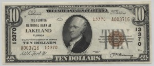 1929 Type 2 $10 Note Charter #13370