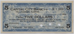 1933 Capital City Bank $5