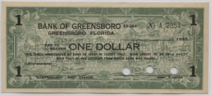 1933 Bank of Greensboro $1