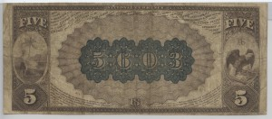 1882 Brown Back $5 Note Charter #5603