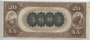1882 Brown Back $20 Note Charter #5603