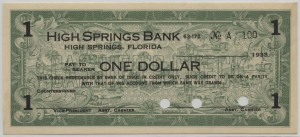 1933 High Springs Bank $1