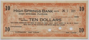 1933 High Springs Bank $10