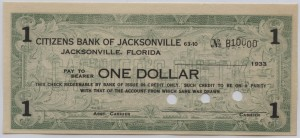 1933 Citizens Bank of Jacksonville $1 (Rare B Plate B10000)
