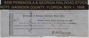 1858 Pensacola $200 Railroad Stock Gadsden County, FL.