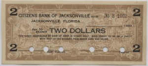 1933 Citizens Bank of Jacksonville $2