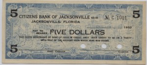 1933 Citizens Bank of Jacksonville $5