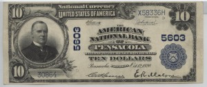 1902 Plain Back $10 Note Charter #5603