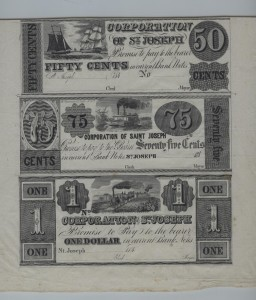 1840's Proof Partial Uncut Remainder Sheet (.50 Cent Note, .75 Cent Note, and $1 Note)