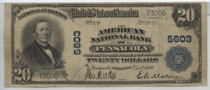 1902 Plain Back $20 Note Charter #5603