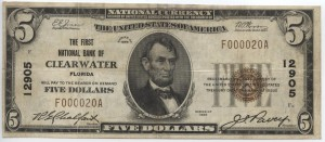 1929 $5 Type 1, 3rd Charter #12905