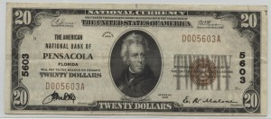 1929 Type 1 $20 Note Serial# 5603 Charter #5603 (Matching Serial & Charter Numbers)