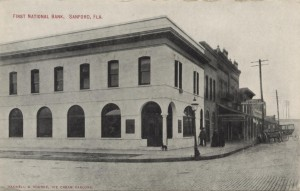 Street View of First National Bank Post Card