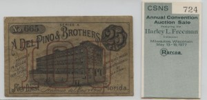 1880's Series A .25 Cent Note from Harley L. Freeman Collection