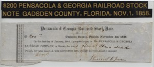 1858 Pensacola and Georgia Rail Road $200 Stock