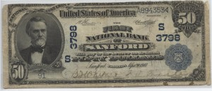 1902 Plain Back $50 Note Charter #3798