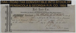 1855 Pensacola and Georgia Rail Road  $3.81 Stock