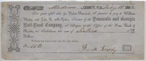 1862 Pensacola and Georgia Rail-Road Company  Check for $16.70