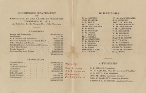 The Heard National Bank Brochure Listing Directors, Officers, Capital, and Surplus