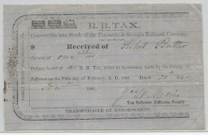 1861 Pensacola and Georgia Railroad Company Check for $1.26