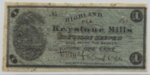 188_ Keystone Mills 1 Cent Note