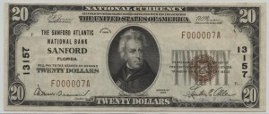 1929 Type 1 $20 Note Charter #13157
