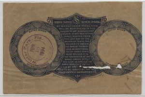 1894 Postal Note Winter Park, FL