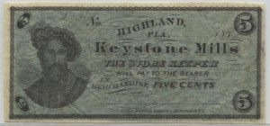 188_ Keystone Mills 5 Cent Note